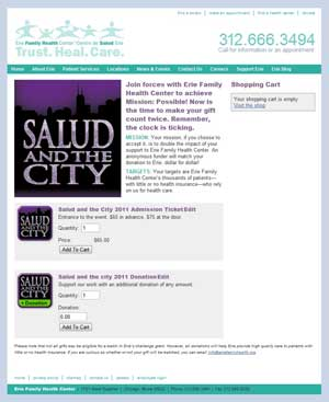 Erie Salud and the City checkout page