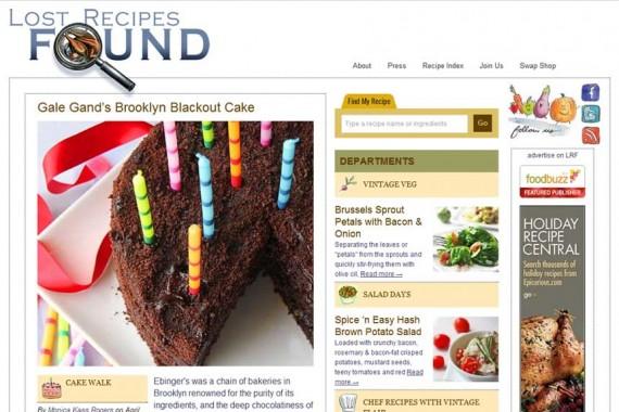 Lost Recipes Found website